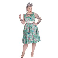Hell Bunny 50's Pinup Victorian Tea Party Birds & Rose Green Party Dress