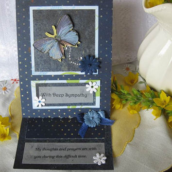 handmade sympathy card, thinking of you butterfly 3D  pop up card, paper handmade greeting card