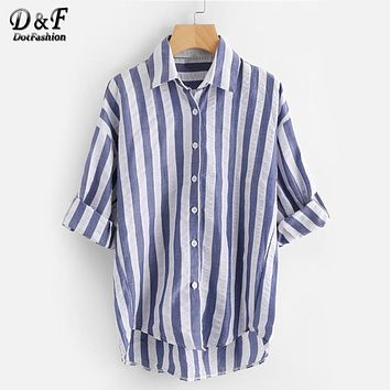 Contrast Striped Drop Shoulder Rolled Sleeve Shirt Woman Navy Lapel Vacation Top Summer Button Long Sleeve Blouse