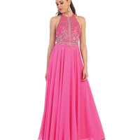 Pink Halter Sheer Beaded Bodice Dress 2015 Prom Dresses