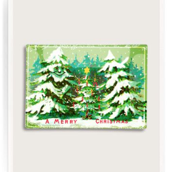 Singing Christmas Trees Decoupage Glass Tray