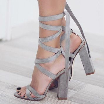 Straps Lace Up Suede High Chunky High Heels Sandals