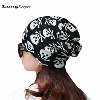 LongKeeper Women Men Knitted Scarf & Winter Skull Pattern Beanies Skullies Cap