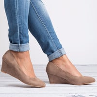 Pointed Toe Wedges - Taupe