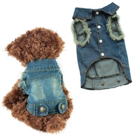 Pet Cat Puppy Soft Blue Jean Dog Coat Jacket Dog Jumpsuit Clothes = 1929579908