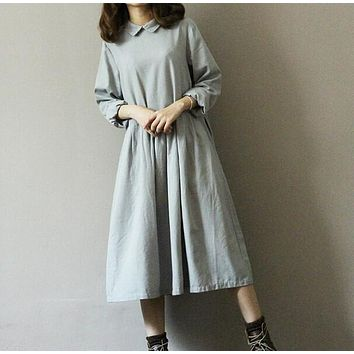 vintage Art  solid linen Back buttons Turn-down collar  long sleeve loose long dress mori girl Autumn