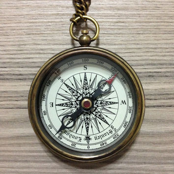 Personalized Handmade Antique Brass Working Compass with custom writing