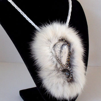 Free Shipping , Bead Embroidery, Necklace, Statement jewelry, Seed bead necklace , Dendrite opal, Swarovski , rabbit fur ,Christmas gift