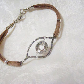 Evil Eye protection charm bracelet - leather strap bracelet with textured frame and ammo casing eye