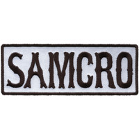 Sons Of Anarchy Men's Samcro Text Embroidered Patch White