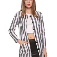 Striped Single-Breasted Long Sleeve Cardigan