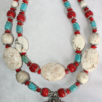 Chunky Cowgirl Necklace, Red Coral Blue Turquoise Statement Necklace, Big Bold White Buffalo Turquoise Necklace, Concho Statement Necklace
