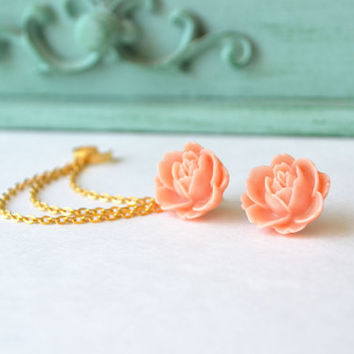 Pale Tangerine Large Flower Triple Chain Ear Cuff (Pair)