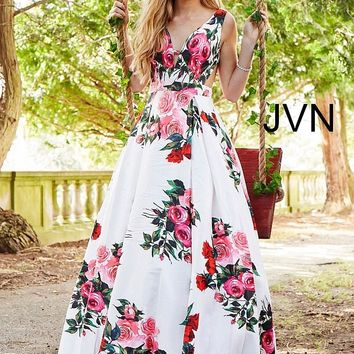 JVN by Jovani JVN59146 Floral Multi A-line with Side Cut-Outs