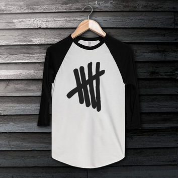 5 Second Of Summer logo T-Shirt 5 Sos Shirt 5 Sos T-Shirt Long Sleeve White Color Shirt Short Baseball Shirt Unisex