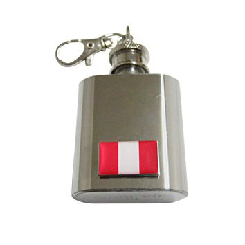 Peru Flag Pendant 1 Oz. Stainless Steel Key Chain Flask