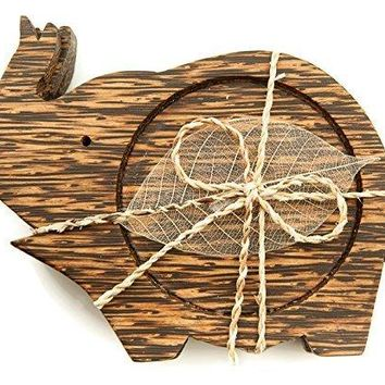 IYARA CRAFT Wooden Coasters for Drinks Tea Cups SaucersTable topper decoration set Elephant lift trunk Palm Wood