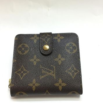 LOUIS VUITTON Compact Zip Bifold Wallet Monogram Brown M61667