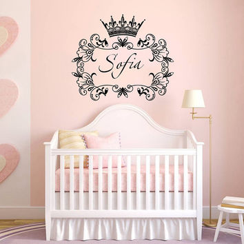 Wall Decal Name Girls Vinyl Sticker Personalized Custom Decals Art Home Decor Mural Wall Decals Nursery Baby Crown Princess Frame Art AN337