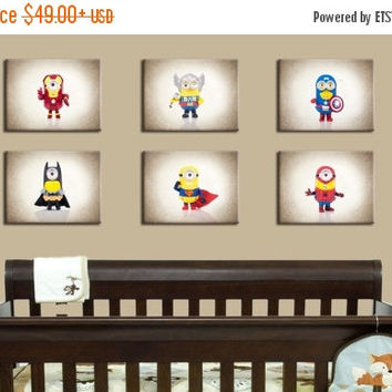 Weekend Sale Discounted Set of 6 minion super heroes,nursery decor,boys room decor ,kids room decor,children decor,teen room decor,nursery p