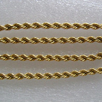 "1/20/12K Yellow Gold Filled Classic Twisted Rope Chain UNISEX Vintage Necklace Jewelry Looks Great on Men or Women 16 1/2"" Long Weight 24.7g"