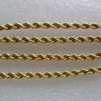 """1/20/12K Yellow Gold Filled Classic Twisted Rope Chain UNISEX Vintage Necklace Jewelry Looks Great on Men or Women 16 1/2"""" Long Weight 24.7g"""
