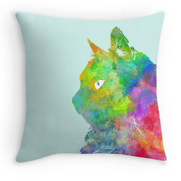 Colourful Cat Scatter Cushion, Watercolour Cat Throw Pillow, 16x16, Home Decor, Cat Owners Gift