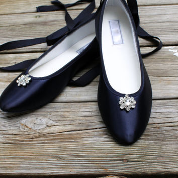 Bridal Flats -- Navy wedding shoes