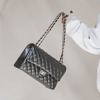 Coco Butter Black Quilted Handbag with Chain