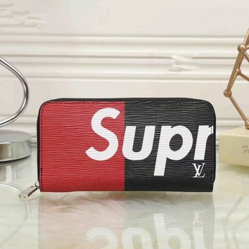 """Louis Vutitton×Supreme"" Men Purse Personality Fashion Multicolor Letter Long Section Zip Wallet Clutch"