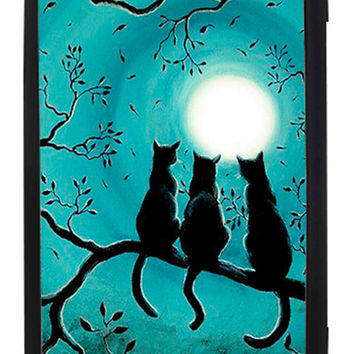 Three Black Cat In The Night Moon Samsung Galaxy S3 Cases - Hard Plastic, Rubber Case