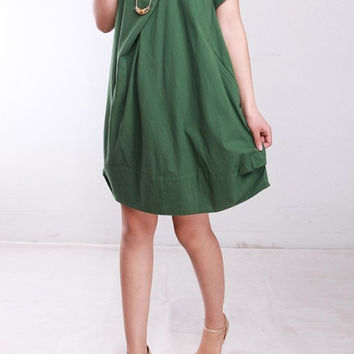 Summer dress/ cotton pleated Short sleeve dress with decorative buttons/ simple green fruit lantern dress