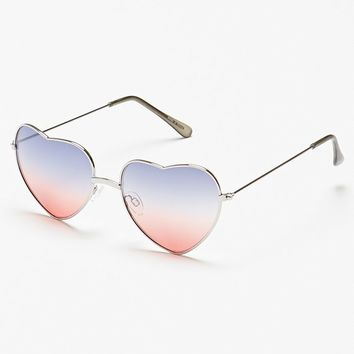 With Love From CA Americana Ombre Mirrored Heart Sunglasses - Womens Sunglasses - Silver - One