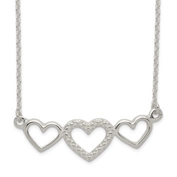 925 Sterling Silver Polished, Textured Three Heart Necklace