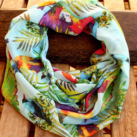 Bird Scarf Tropical Mint Green Infinity Scarf Spring Fashion Women Circle Scarf Loop Fabric Scarf