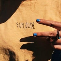 suh dude Tumblr Popular Tee Casual yellow Black Letter T-Shirt Grunge Casual Aesthetic Tops Suh Slogan Trendy 90s Outfits S-3XL