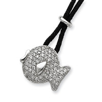 Sterling Silver CZ Fish Black Wool Cord Necklace