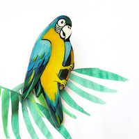 Brooch Tropical Ara Parrot, statement brooch, bright jewelry, macaw, funny holiday jewelry, multicolor, blue, yellow, green