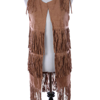 LAYERED FRINGE SUEDE FEEL VEST