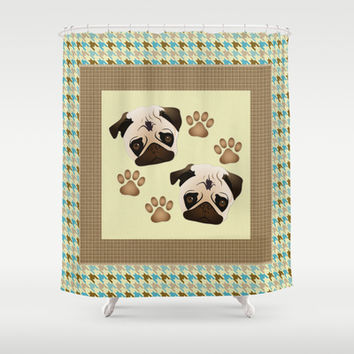 Pugs and Paw Prints Shower Curtain by pugmom4