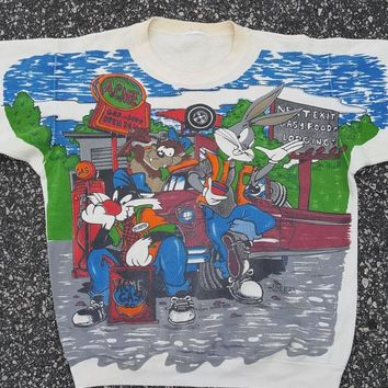 vtg 1994 Looney Tunes  Acme Gas Station Cartoon 90s Crewneck Sweatshirt Space Jam Tune squad Taz Bugs sz med