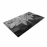 "Li Zamperini ""Black & White Mandala"" Gray Abstract Woven Area Rug"