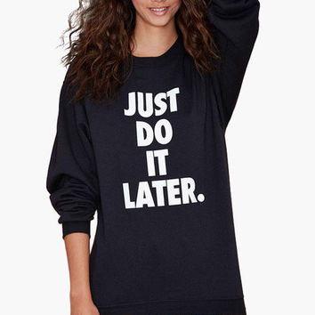 Black Graphic Print Long Sweatshirt