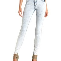 Acid Wash High-Waisted Skinny Jeans by Charlotte Russe - Lt Acid Wash