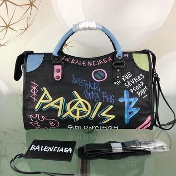 DCCK 1561 Balenciaga city Crackle sheepskin graffiti Handbag