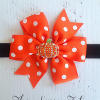 Orange Halloween Bow - Pumpkin Bow Headband - Baby Newborn Girls