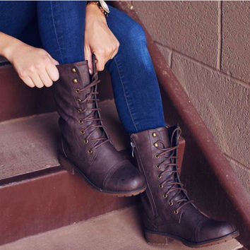 Lucina Combat Boots - Brown