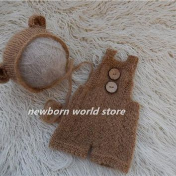 DCCKL3Z newborn photography props mohair Bear hat and mohair pants