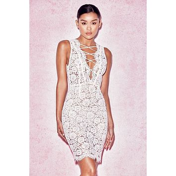 Shasa White Lace Scallop Dress