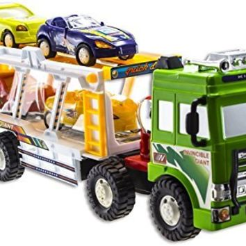 WolVol Friction Powered Transport Car Carrier Truck Toy for Boys (includes 1 friction truck and 4 cars)